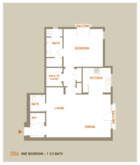 floorplan for unit 206